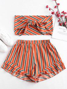 ZAFUL Stripes Tie Front Bandeau Top Set - البابايا البرتقال S
