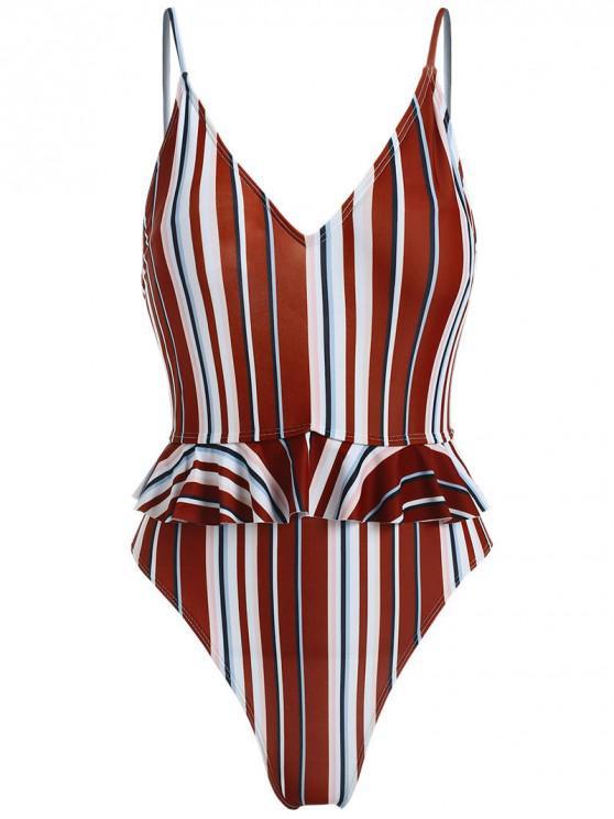 fashion ZAFUL Striped Ruffle Cami Swimsuit - MULTI-A L
