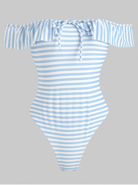Costume Da Bagno A Righe Con Volant A Spalle Scoperte - Celeste Chiaro S