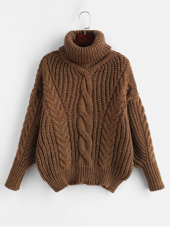 women's Turtleneck Chunky Cable Knitted Sweater - BROWN ONE SIZE