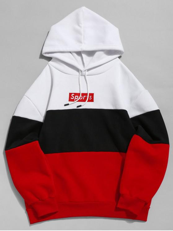 ZAFUL Sweat-Shirt à Capuche Molleton en Blocs de Couleurs et Inscription Brodée - Rouge S