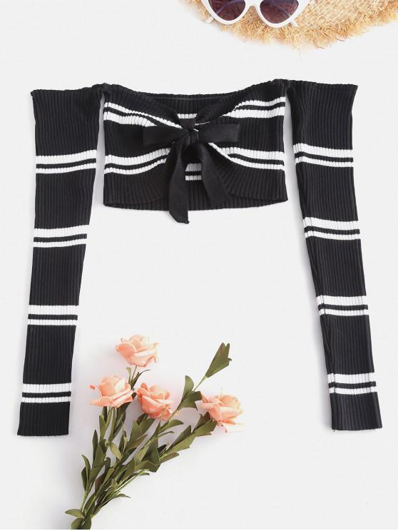 best Stripes Tie Front Off Shoulder Sweater - BLACK ONE SIZE