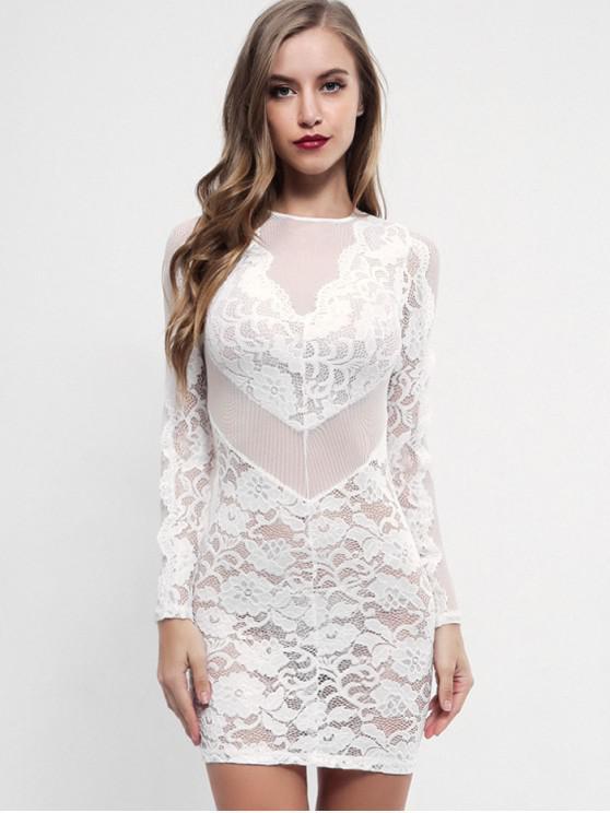 aa72d952c92e 30% OFF  2019 Semi Sheer Bodycon Lace Dress In WHITE