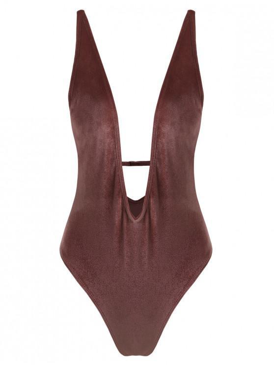 Swimsuit de peça única de veludo de mergulho ZAFUL - Rosquinha S