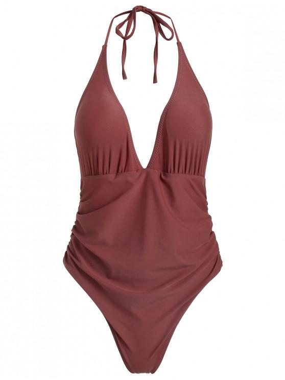 shop ZAFUL Ruched Halter One Piece Swimsuit - ROSY FINCH M