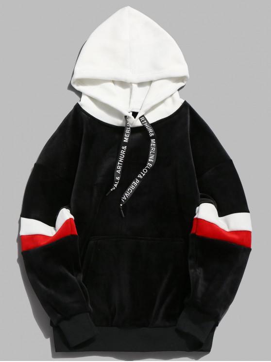 affordable Contrast Stripe Pullover Velvet Hoodie - BLACK M