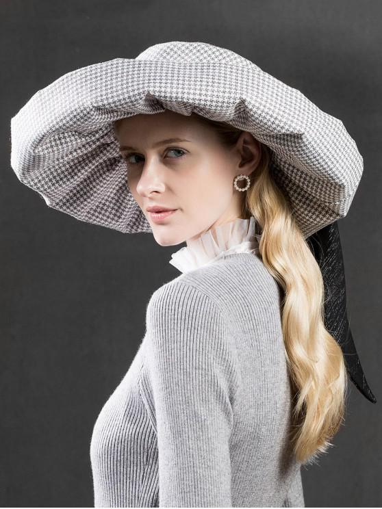 a97e0dc3742a3 82% OFF  2019 Unique Houndstooth Ribbon Oversized Hat In GRAY
