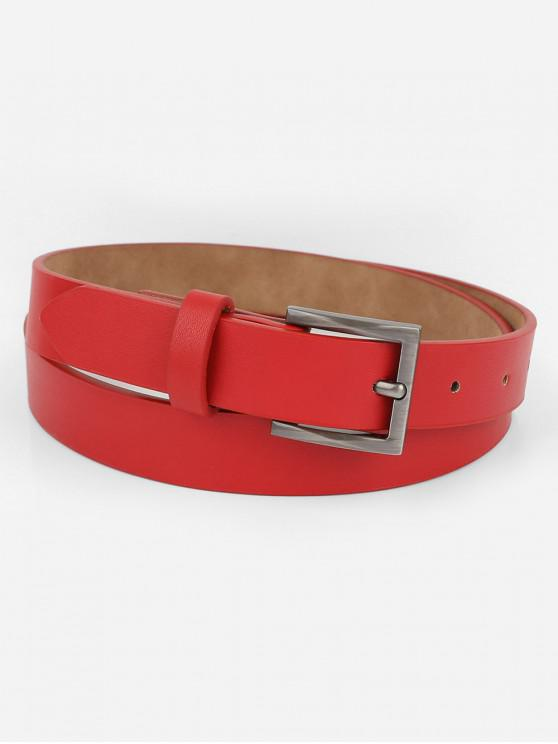 affordable Casual Metal Buckle Artificial Leather Belt - RED