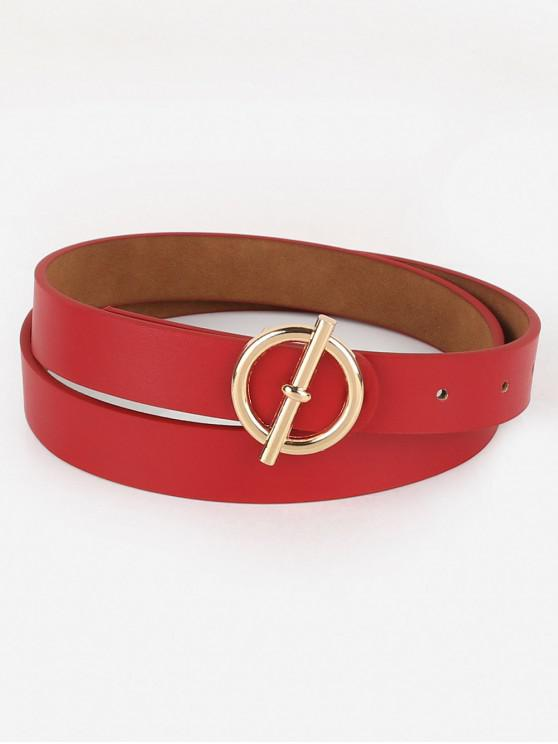 chic Alloy Round Buckle Faux Leather Waist Belt - RED