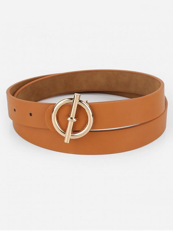 women's Alloy Round Buckle Faux Leather Waist Belt - BROWN