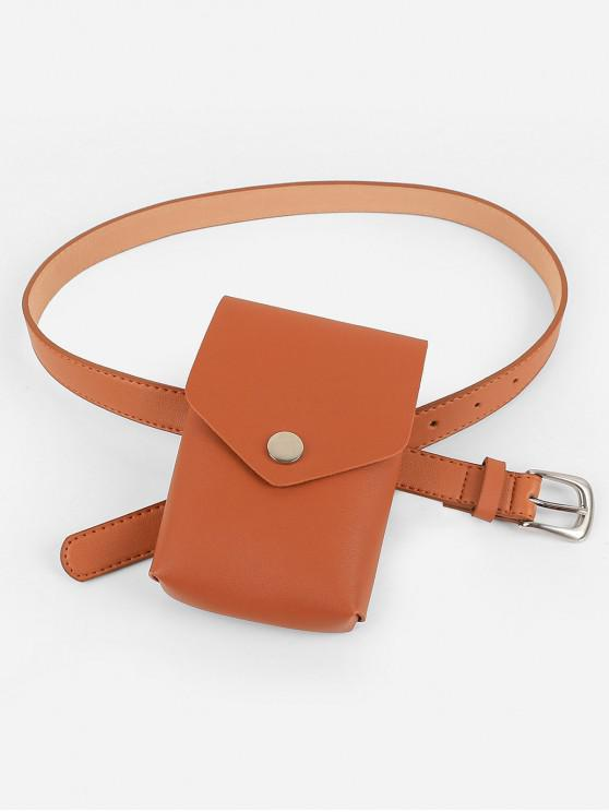 latest Mini Fanny Pack Faux Leather Waist Belt Bag - ORANGE SALMON