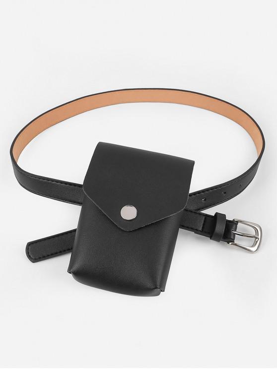 shop Mini Fanny Pack Faux Leather Waist Belt Bag - BLACK