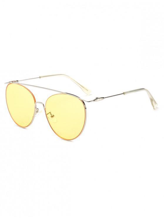 fashion Statement Crossbar Pilot Sunglasses - YELLOW
