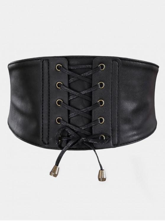 ladies Vintage Drawstring PU Leather High Waist Belt - BLACK