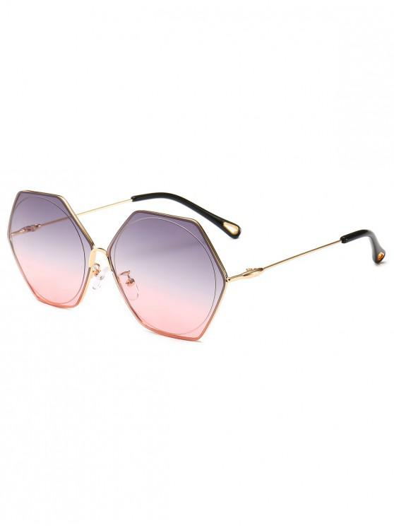 shops Stylish Hollow Out Leg Irregular Lens Sunglasses - LIGHT PINK