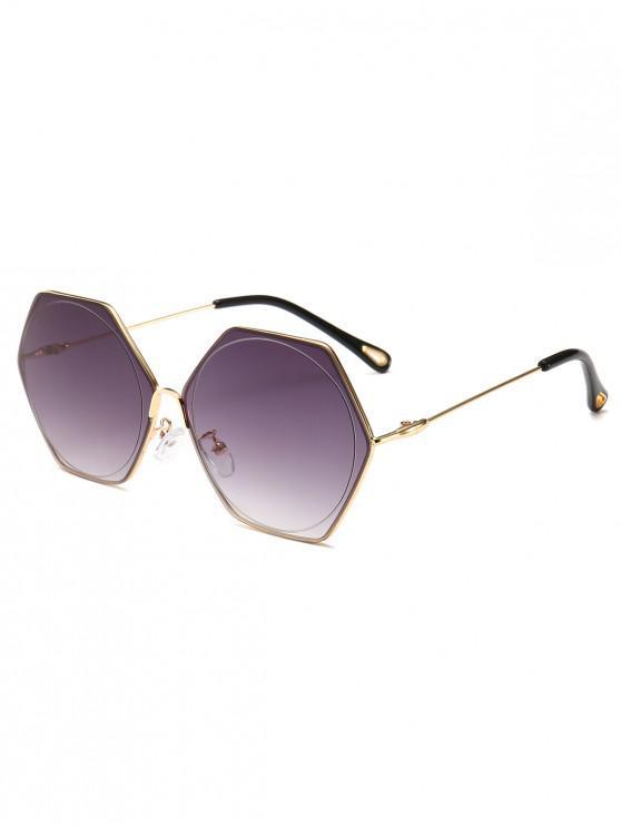 womens Stylish Hollow Out Leg Irregular Lens Sunglasses - GRAY