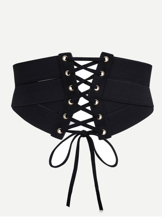 hot Stylish Drawstring Zipper Corset Waist Belt - BLACK