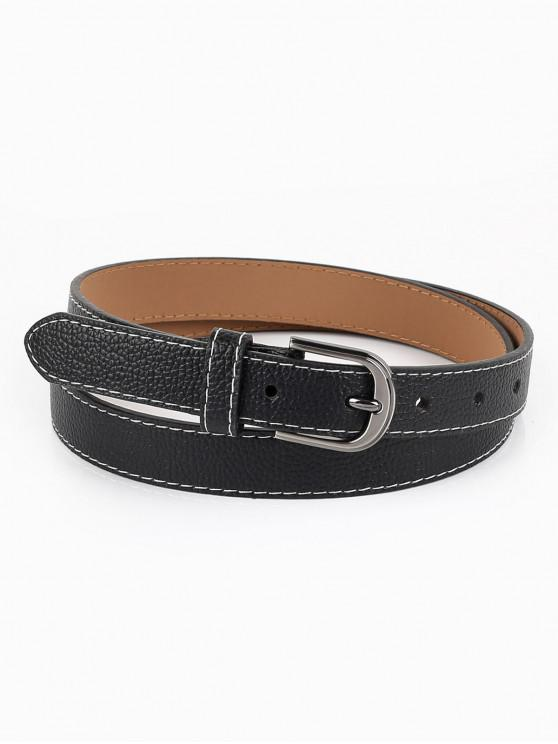 new Metal Buckle Line Embroidery Casual Belt - BLACK