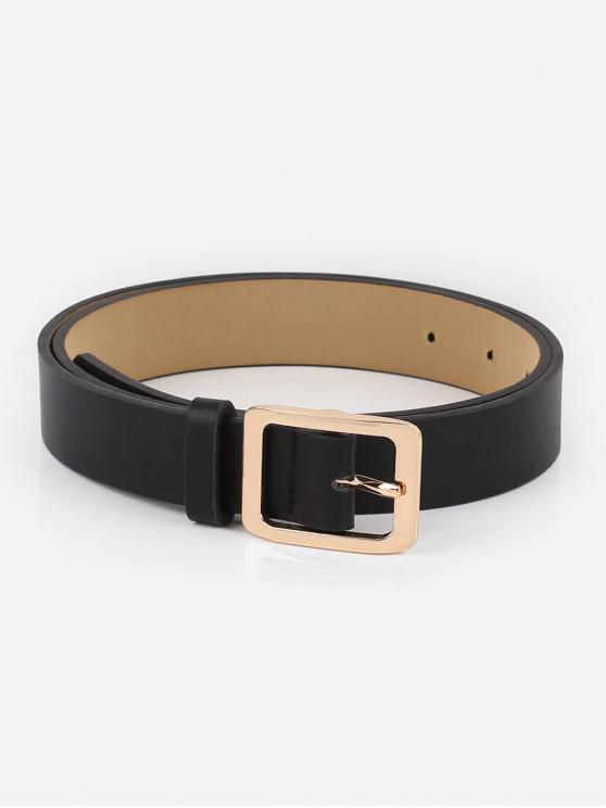 Alloy Square Buckle Faux Leather Waist Belt - أسود
