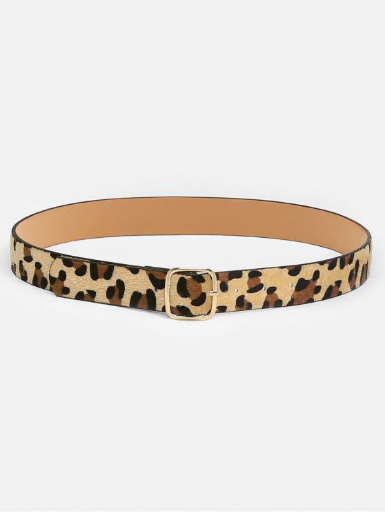 unique Leopard Pattern Square Buckle Belt - LEOPARD