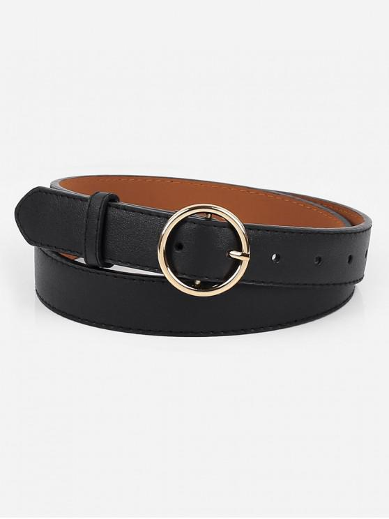 womens Alloy Circle Buckle Faux Leather Belt - BLACK