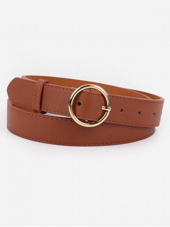 best Alloy Circle Buckle Faux Leather Belt - BROWN