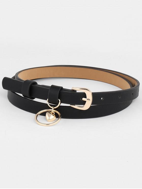latest Stylish Dangling Heart Metal Buckle Waist Belt - BLACK