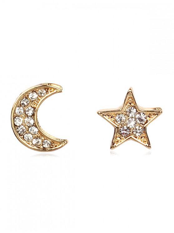 sale Rhinestone Star Moon Shape Earrings - GOLD