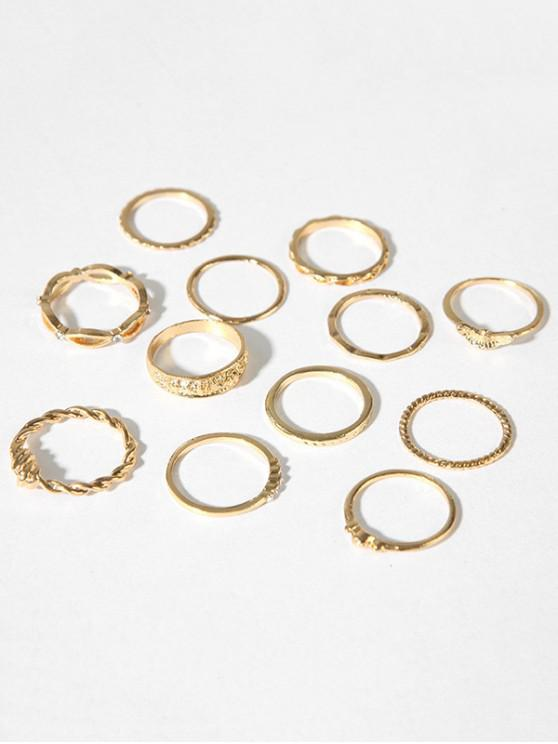 ladies Carved Hollow Out Alloy Rings Set - GOLD