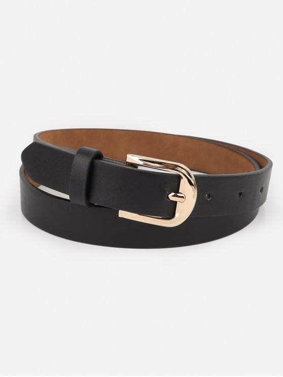 latest Alloy Buckle Artificial Leather Waist Belt - BLACK