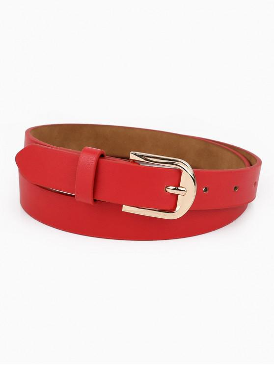 best Alloy Buckle Artificial Leather Waist Belt - RED