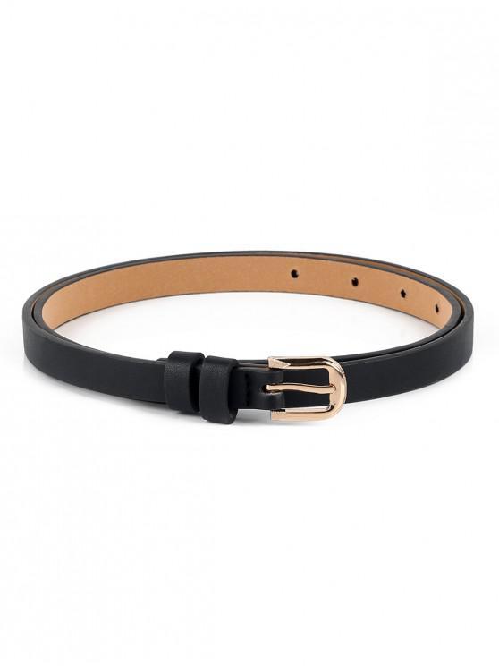 unique Casual Alloy Buckle Faux Leather Belt - BLACK