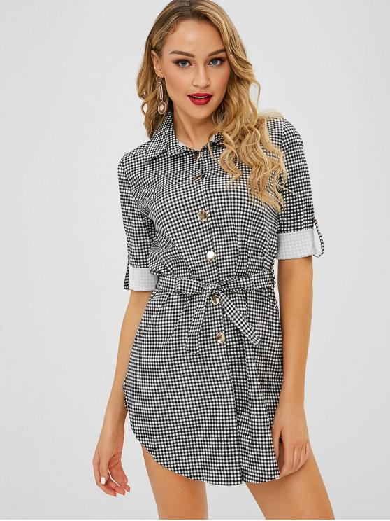 d72192a79f3 26% OFF] 2019 Belted Gingham Shirt Dress In BLACK | ZAFUL