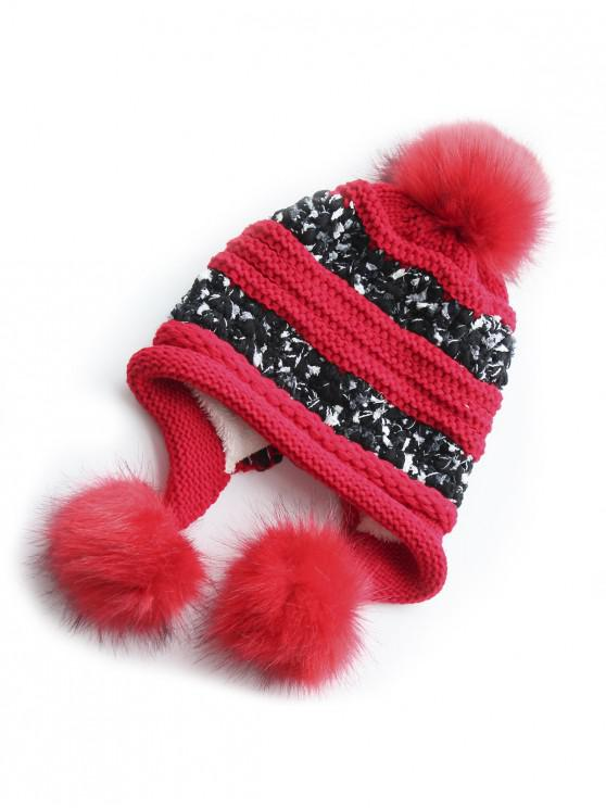 buy Winter Fuzzy Ball Decorative Warm Hat - RED