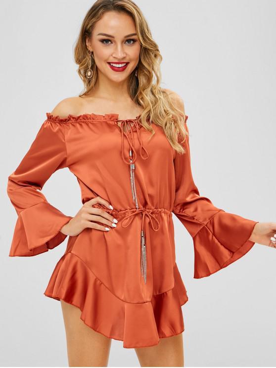 5fae223f155db 25% OFF  2019 Drawstring Flare Sleeve Off Shoulder Dress In ORANGE ...