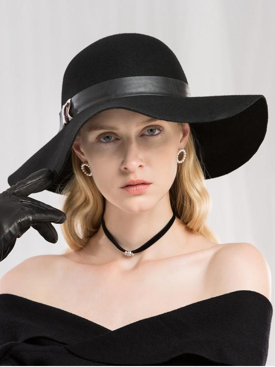 women's Winter Wide Brim Wool Fedora Hat - BLACK