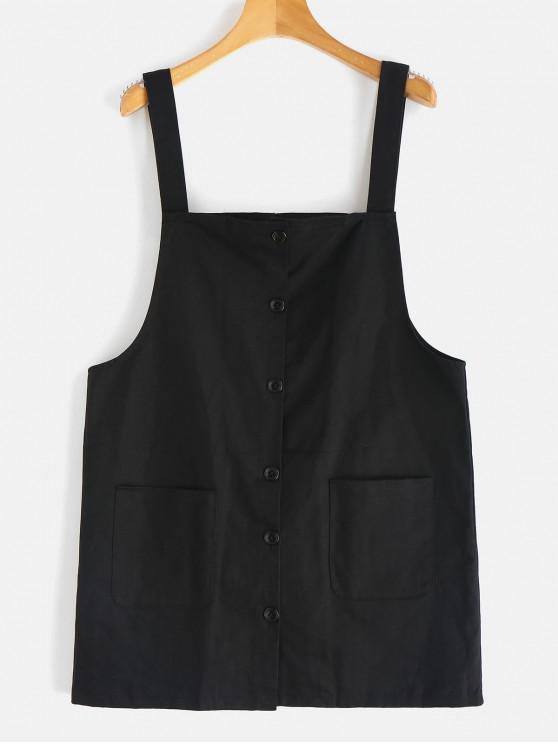53 Off 2019 Button Up Mini Pinafore Dress In Black Zaful English