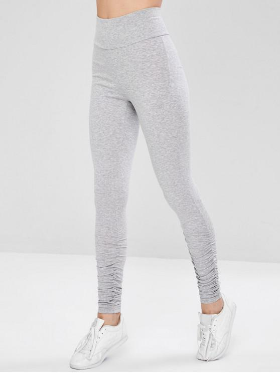 fashion Ruched Active Wide Waistband Gym Leggings - GRAY M