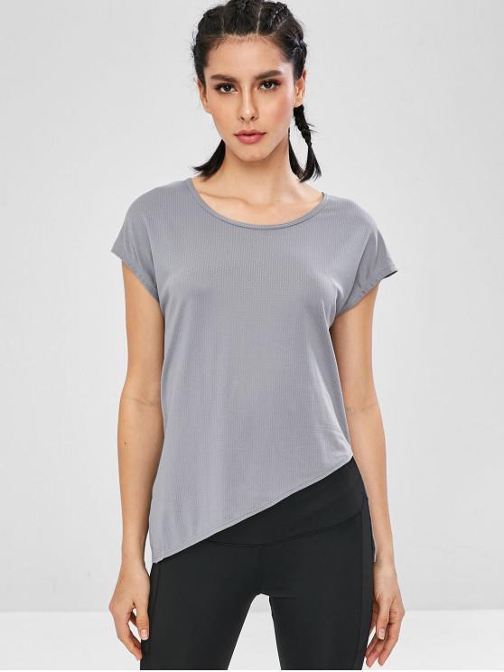 T-Shirt Asimmetrica Con Maniche Corte - Grigio L