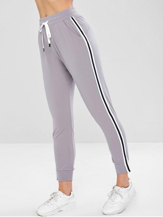 Pantalon de Jogging de Survêtement à Taille Haute - Gris Clair L