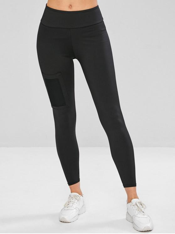 online Patch Pocket Compression Sports Leggings - BLACK M