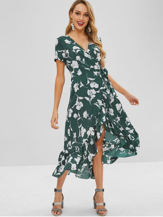 chic Ruffles Floral High Low Wrap Dress - MULTI-A S