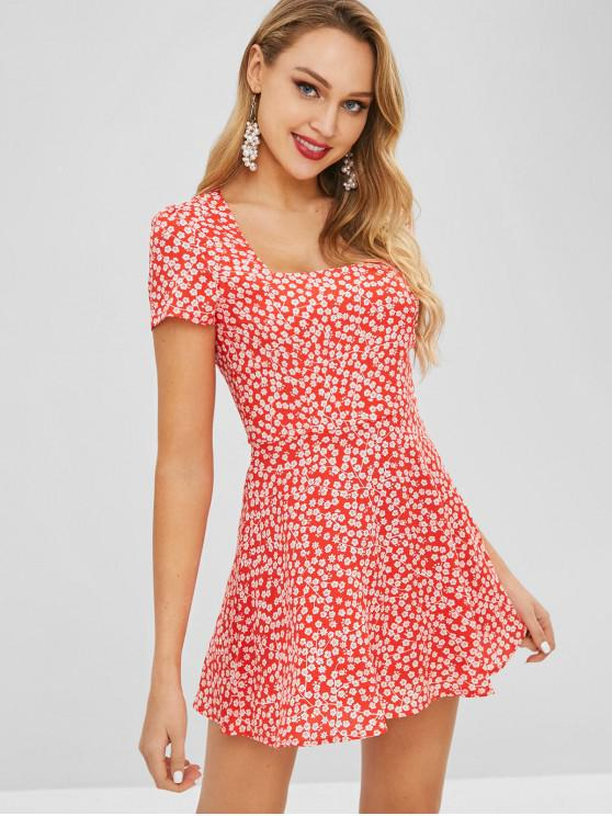 fashion Square Collar Tiny Floral Dress - RED L