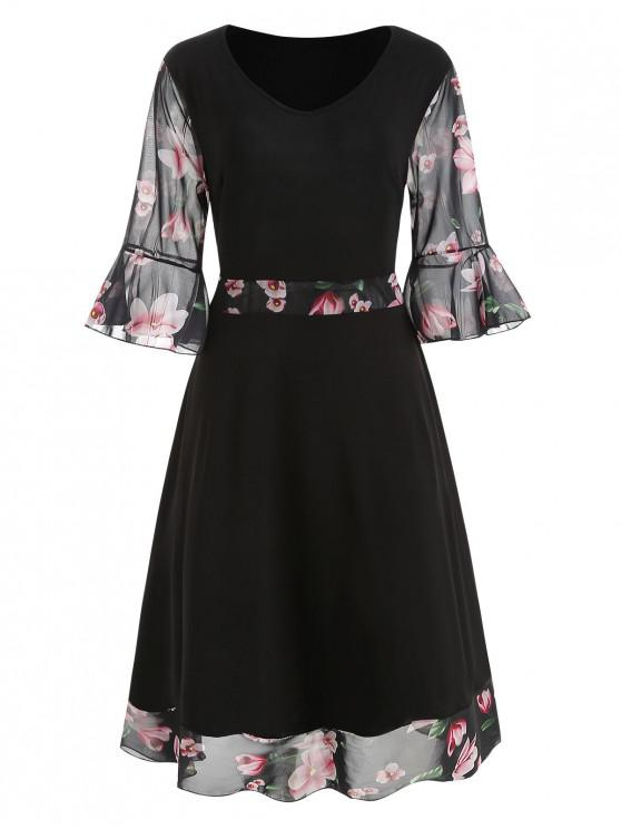 98cdc391d733 35% OFF] 2019 Plus Size Floral Bell Sleeve Midi Dress In BLACK | ZAFUL
