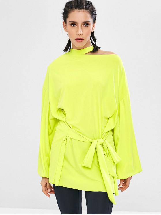 Felpa Plus Size A Tunica Con Nodo - Verde Giallo L