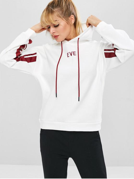 womens Eve Embroidered Drop Shoulder Hoodie - WHITE M