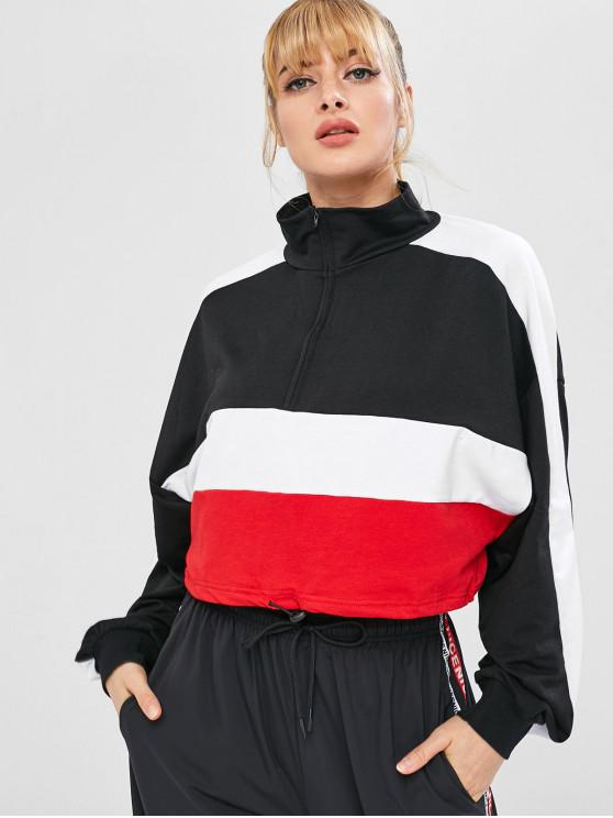 unique Tricolor Drawcord Waist Sports Sweatshirt - BLACK L
