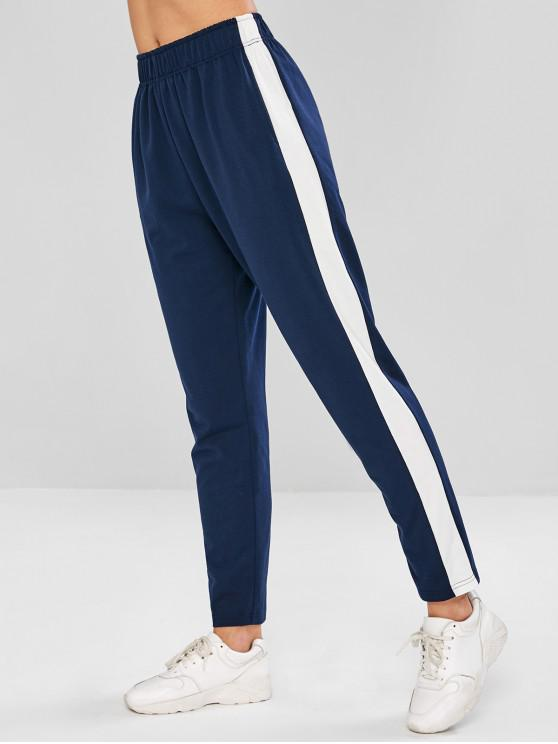 best ZAFUL Color Block Gym Pants - CADETBLUE S