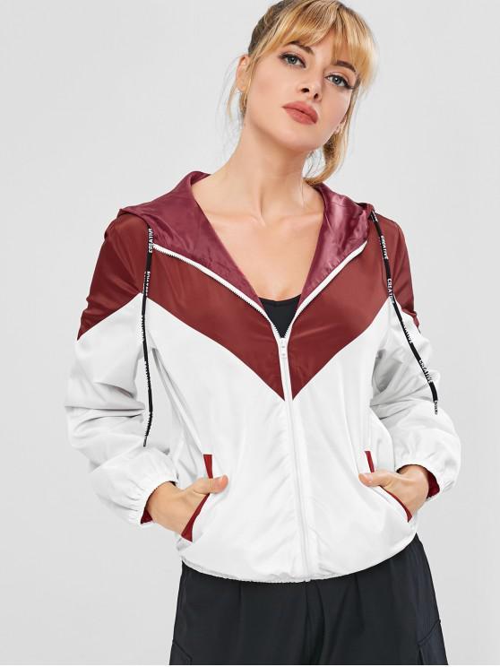 latest ZAFUL Color Block Hooded Windbreaker Jacket - RED WINE M