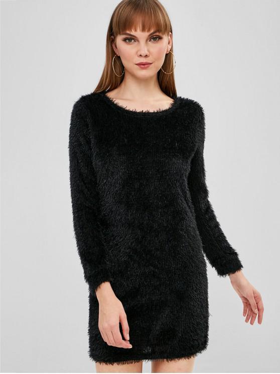 Mini Vestido Fluffy Con Textura - Negro M